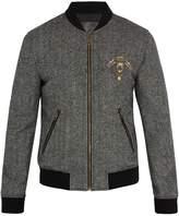 Dolce & Gabbana Crest-appliqué wool-blend bomber jacket