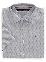 Tommy Hilfiger Men's Dobby Short Sleeve Custom Fit Shirt