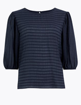 Per Una UsMarks and Spencer Striped Blouson Sleeve Blouse