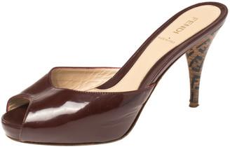 Fendi Burgundy Patent Leather and Zucca Heel Peep Toe Slide Sandals Size 37.5