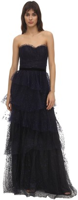 Marchesa STRAPLESS FLOCKED TULLE GOWN