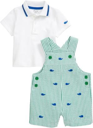 Little Me Whale Polo & Seersucker Shortalls Set