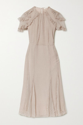 Jason Wu Collection Polka-dot Flocked Silk-blend Crinkled Chiffon Midi Dress - Beige