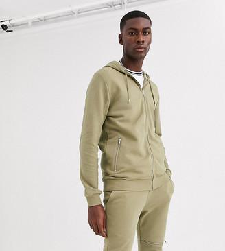 Asos Design DESIGN Tall two-piece zip through hoodie in khaki with biker panels-Green