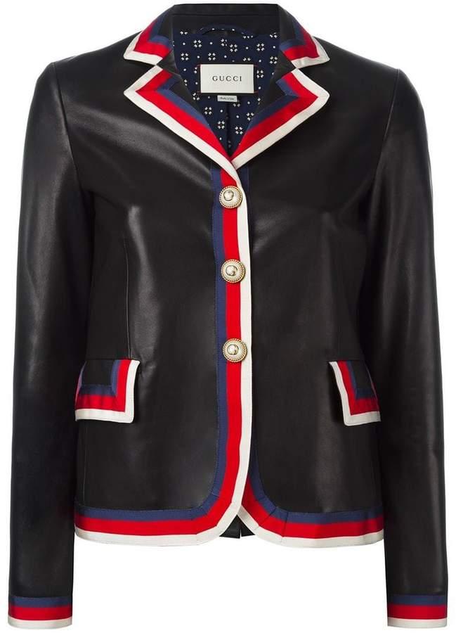 Gucci Sylvie web trim leather jacket
