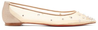 Christian Louboutin Degra Crystal Spike-embellished Mesh Ballet Flats - Nude