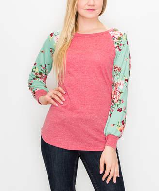 Cool Melon Women's Tee Shirts Dark - Dark Coral & Sage Floral Cuffed Raglan Tee - Women & Plus