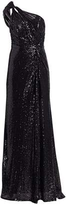 Rene Ruiz Collection One-Shouldered Sequined Gown