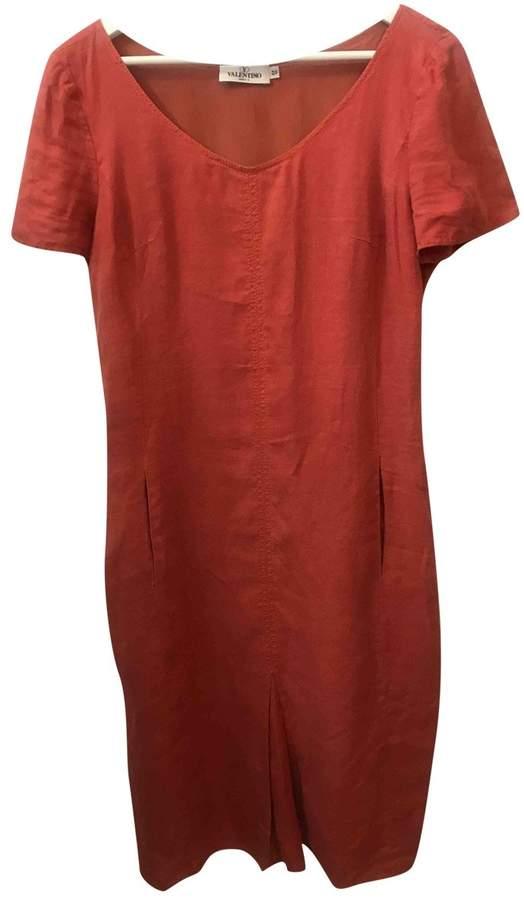 Valentino Orange Linen Dresses