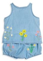 Stella McCartney Baby's Trixie Two-Piece Embroidered Denim Top & Bloomers Set