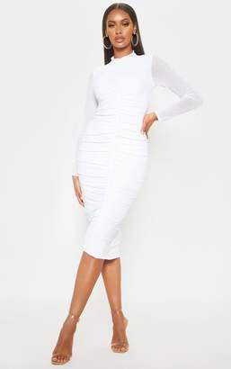 PrettyLittleThing White Mesh Ruched Midi Dress