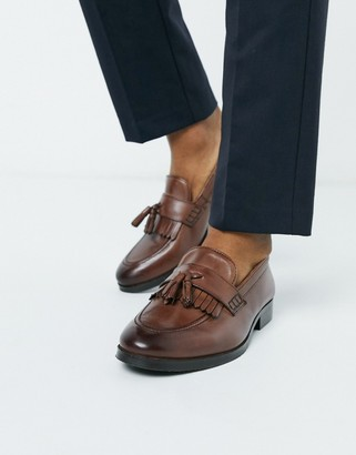 ASOS DESIGN loafers in brown leather with tassel and fringe detail