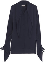 Balenciaga Layered Silk-georgette Blouse - Navy