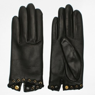 Agnelle Alixen Black Leather Whip-Stitched Short Gloves