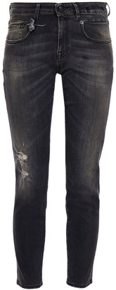 R 13 Distressed Faded Mid-rise Skinny Jeans