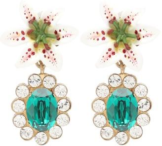 Dolce & Gabbana Embellished floral clip-on earrings