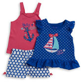 Nannette Baby Girls Baby Girls Sailboat Tee, Anchor Tank and Patterned Shorts Set