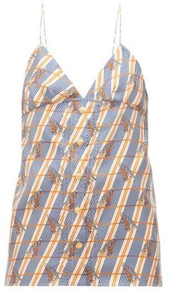 Gucci Giraffe-print Checked Silk Cami Top - Womens - Ivory Multi