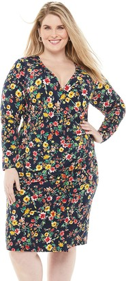Chaps Plus Size Print Faux-Wrap Dress