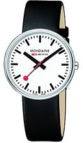 Mondaine Men's Mini Giant 35mm Watch with Stainless Steel polished Case white Dial and black leather strap Strap A763.30362.11SBO