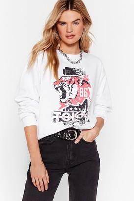 Nasty Gal Womens Take Me to Tokyo Relaxed Graphic Sweatshirt - Cream - S