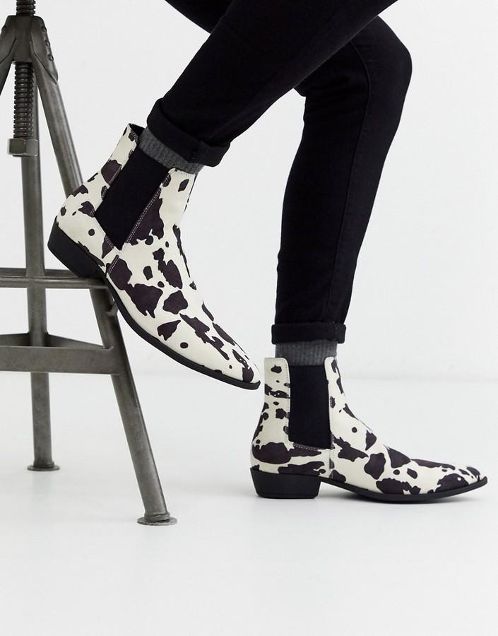 Asos DESIGN cuban heel western chelsea boots in faux suede cow print
