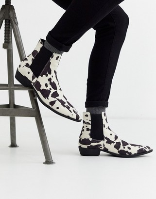 Asos DESIGN cuban heel western chelsea boots in faux suede cow print