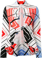 Capucci ruffled printed cropped jacket - women - Silk - 40