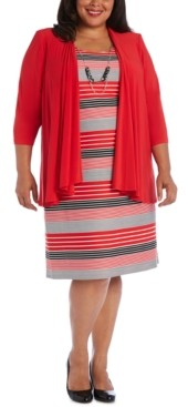 R & M Richards Plus Size Striped Dress & Draped-Front Jacket