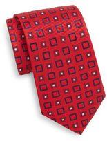 Saint Laurent Square-Print Silk Tie