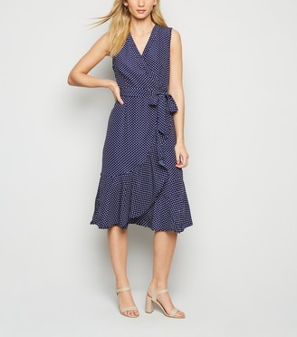 New Look Mela Polka Dot Wrap Midi Dress