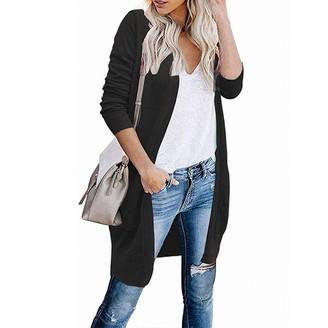 Kalorywee Sale Clearance Outwear KaloryWee Women Cardigan Casual Open Front Longline Cable Knit Solid Parka Jacket Black Beige