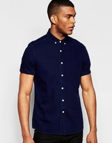 Asos Denim Shirt In Navy With Short Sleeves In Regular Fit