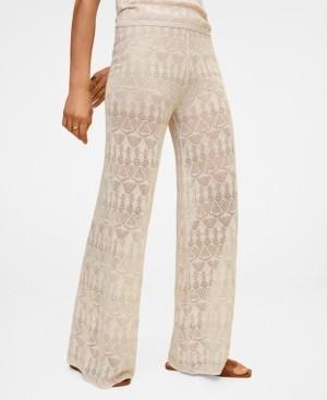 MANGO Openwork Detail Linen Trousers
