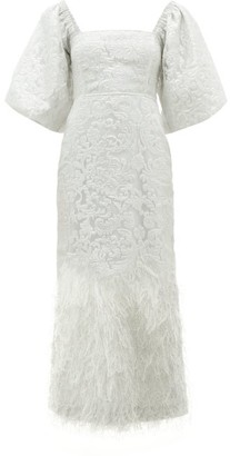 Ganni Floral-brocade Puff-sleeve Feathered-skirt Dress - Womens - Ivory