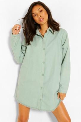 boohoo Fray Hem Oversized Denim Shirt Dress