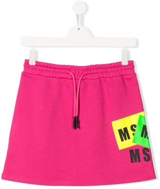 Msgm Kids TEEN logo print cotton skirt