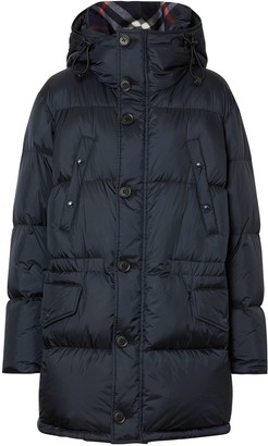 Burberry Logo Detail Hooded Puffer Coat