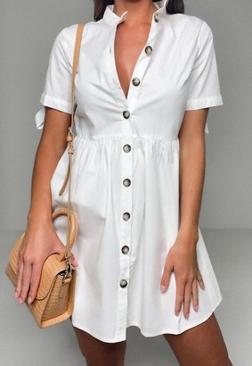 Missguided White Poplin Tie Cuff Shirt Dress