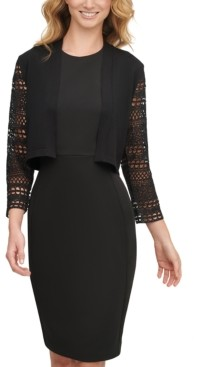 Calvin Klein Lace-Sleeve Cropped Cardigan