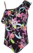 River Island Girls black tropical one shoulder swimsuit