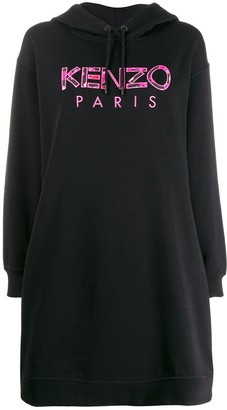 Kenzo Logo Embroidered Hoodie Dress