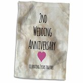 """3D Rose 2Nd Wedding Gift-Cotton Celebrating 2 Years Together-Second Anniversaries Two Yrs Towel, 15"""" x 22"""""""