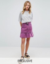 Monki Acid Wash Ruffle Denim Skirt