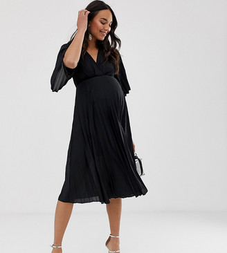 ASOS DESIGN Maternity kimono pleated midi dress in black