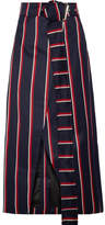 SOLACE London Apolline Striped Wool And Cotton-blend Twill Wrap Skirt - Midnight blue