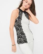 White House Black Market Lace-Detail Sleeveless Sweater