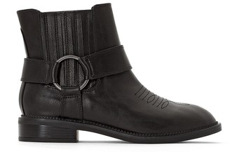 La Redoute Collections Western Ankle Boots with Gold-Coloured Buckle