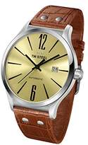 TW Steel Slim Line Unisex Automatic Watch with Blue Dial Analogue Display and Brown Leather Strap TWA1313