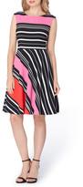 Tahari Stripe Fit & Flare Dress (Petite)